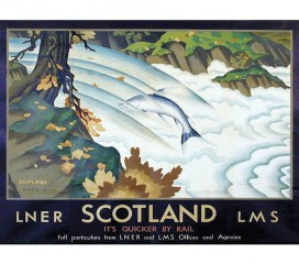 Leaping Salmon - Scotland Railway (c1930) Poster