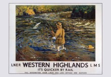 Salmon Fishing in the Western Highlands (1935) Railway Poster